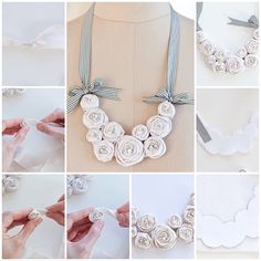 Handmade Kanzashi Fabric Flowers DIY Fabric Rosette Bib Necklace DIY ...