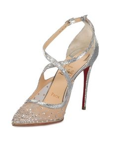 CHRISTIAN LOUBOUTIN CHRISTIAN LOUBOUTIN TWISTISSIMA SILVER STRASS  ANKLE-STRAP 100MM PUMPS.  christianlouboutin  shoes   ee69fb3331