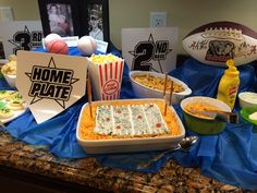 FOOD DISPLAY - SPORTS BIRTHDAY PARTY FOR ROY & STANLEY AT OUR HOME.