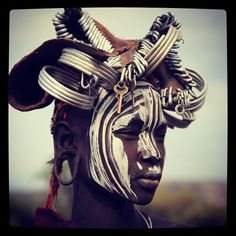 Face painted tribes woman of Ethiopia by David du Plessis