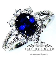 GIA Certified 18 kt White Gold 1.57 tcw Royal Blue Oval Cut Natural Ceylon Sapphire & Diamond Ring.