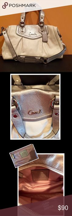 COACH Cream and Silver Satchel EUC worn just a few times/pristine interior/2 attached handles and a detachable strap/Great color combo Coach Bags Satchels