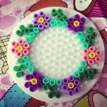 Flower wreath hama perler beads by hansenhelena by paige Hama Beads Design, Diy Perler Beads, Perler Bead Art, Pearler Beads, Fuse Beads, Pony Bead Patterns, Pearler Bead Patterns, Perler Patterns, Beading Patterns