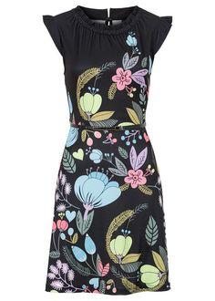 Sukienka z kolekcji Bodyflirt w piękny kwiatowy wzór, z paskiem i minirękawkami typu motylki. Okrągły dekolt z ozdobnym maszczeniem i zapięciem na guzik z tyłu. Delikatnie rozkloszowana część spódnicowa. Dł. w rozm. 36/38 ok. 90 cm.