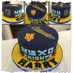 "7 May 2017 - Lego ""Nexo Knights"" theme cake for DS no. 2. 8"" 3-layer vanilla cake with jam and vanilla SMBC filling. Covered with more vanilla SMBC and fondant."