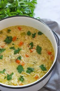 One Pot Chicken Orzo Soup is a hearty and delicious soup recipe made with wholesome vegetables, chicken, and lemon. This is comfort food at its best.