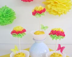 cupcake topper flower and butterfly 4 sets by katyshoestring
