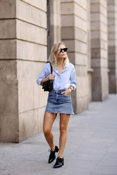 By Natasha Alexandrou From off-the-shoulder tops to casual shirt dresses and espadrilles, we've rounded up seven looks that will keep you cool and super chic this summer.  Look 1 Striped Tee, Faded De