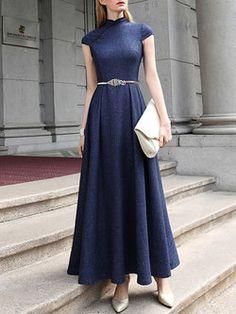 #Vintage Short Sleeve Crew Neck Polyester A-line #Maxi #Dress   $115