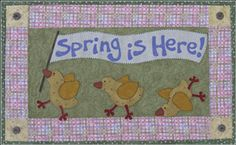 """Spring Is Here Wallhanging Pattern by The Wooden Bear at KayeWood.com. Measures approximately 25"""" x 15"""" One chick is the perfect size for a tea towel too!  http://www.kayewood.com/Spring-Is-Here-Wallhanging-Pattern-WB-SPHE.htm $8.00"""