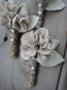 Burlap, lace and twine Boutonnieres - for a country/outdoor rustic wedding