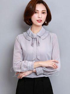fa7a5a453ae  TbDress -  TBDress Plain Lace-up Heap Collar Womens Blouse - AdoreWe.com