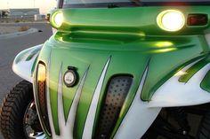 Synergy green retro custom Gem car by Innovation Motorsports. Gem Cars, Golf Carts, Innovation, Electric, Product Launch, Retro, Green, Retro Illustration