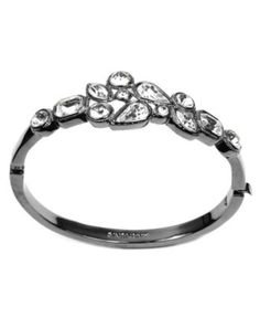 Givenchy Bracelet, Hematite Clear Stone Bangle Braclet - Fashion Jewelry - Jewelry & Watches - Macy's
