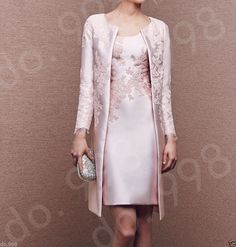 0f69012699e9 Gorgeous Pink Knee Length Mother Of the Bride Dress Lace With Coat For  Wedding Βραδινές Τουαλέτες