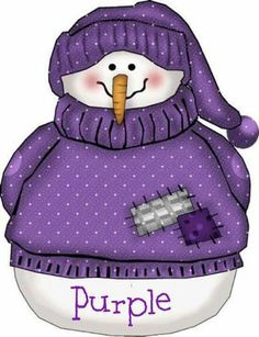 Snowman dressed in purple sweater & hat Clipart Noel, Snowman Clipart, Christmas Clipart, Christmas Images, Christmas Snowman, Christmas Crafts, Winter Clipart, Christmas Tables, Purple Love