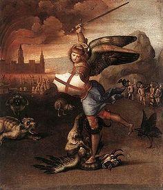 """""""San Miguel"""". Rafael Sanzio, Hacia 1501."""