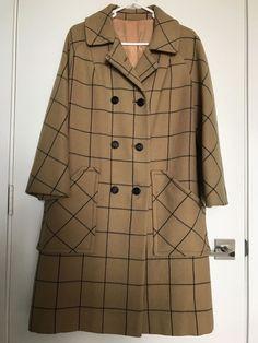 MCM Mod Vintage Wool Plaid 3/4 Coat Topcoat Overcoat Duffel Opera Sleeve Funky #Unbranded #Everyday