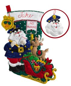 "Officer Santa is an adorable new kit (April 2017) from Bucilla. This felt appliqué stocking kit is 18"" and comes with a free ornament. All new release items from Bucilla can be found at MerryStockings.com."