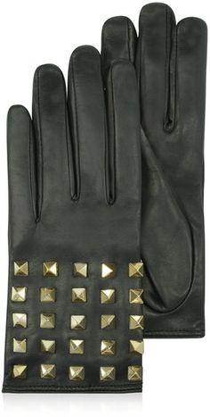 Valentino Rockstud Black Leather Gloves