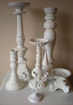 Candle Holder Collection Pillar Candlesticks Heirloom White Wedding