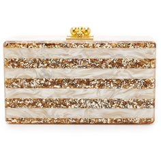Edie Parker Jean Striped Clutch ($1,170) ❤ liked on Polyvore featuring bags, handbags, clutches, glitter, edie parker, frames & background, kiss lock purse, edie parker clutches, pink glitter purse and glitter handbag