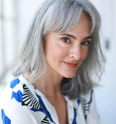 7 Long Silver Hair Ideas and My Journey to Embracing Gray Locks - Silver grey hair - Hair Grey Hair With Bangs, Grey Hair Dye, Ombre Hair, Dyed Hair, Gray Hair Women, Long Silver Hair, Long White Hair, Growing Out Bangs, Gray Hair Growing Out