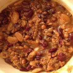 This is VERY delicious and easy to make.  It is a bean casserole with many of the ingredients of the original calico beans, a recipe from Jen's grandmother.