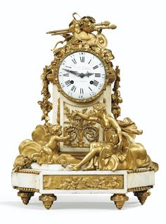 A GILT-BRONZE MOUNTED WHITE MARBLE MANTEL CLOCK, LOUIS XVI, THE DIAL SIGNED DD FC DUBOIS / A PARIS