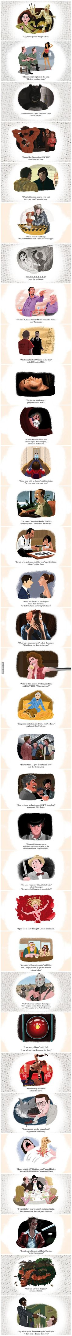 How many Movies can you recognize? Famous Movie Scenes as Book Illustrations