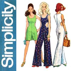 1960s Cut Out Jumpsuit Pattern Bust 38 Simplicity 8244 Mod Emma Peel Day or Evening Jumpsuit Romper Playsuit Womens Vintage Sewing Patterns by CynicalGirl on Etsy