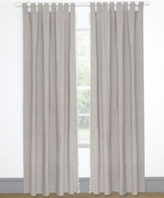 Full Length Grey Pom Pom Tab Top Curtains Single Width: 132 x Drop: 220cm Approx. | Mamas & Papas - prams, pushchairs, car seats, baby clothes, nursery furniture & more