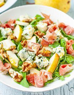 Sałatka z gruszką, suszoną szynką i orzechami włoskimi Best Salad Recipes, Healthy Recipes, Us Foods, Cobb Salad, Potato Salad, Salads, Food And Drink, Lunch, Snacks