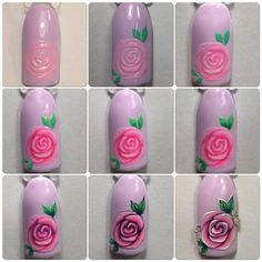 Trendy nails art tutorial step by step rose 55 Ideas Nail Art Fleur, Rose Nail Art, Rose Nails, Flower Nail Art, New Nail Art, Nail Art Modele, Nail Art Techniques, Trendy Nail Art, Nail Art Hacks