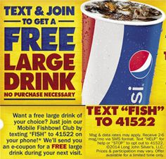 FREE Large Drink at Long John Silver's (Text Offer) on http://hunt4freebies.com