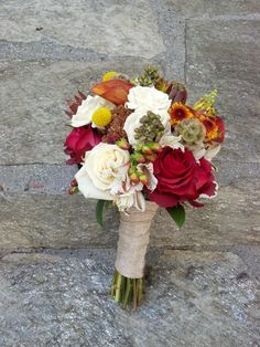 Rustic fall wedding bouquet by Floral Fields of Burbank, California.