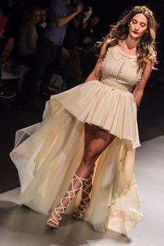 "mod ""Iemesa""  fashion show, vintage wedding dress, boho wedding dress, VG Ζolotas, Atelier Zolotas, Handmade wedding dress, women fashion, bridal fashion, bride, headpiece, jewelry, headband, designer dress, short skirt wedding dress"