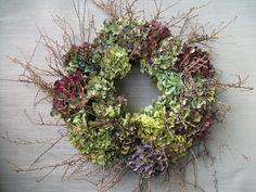 dried hydrangea and twig wreath