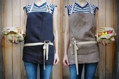 Love these! So simple and clean...maybe need a pocket but so farmers market! #linenapron