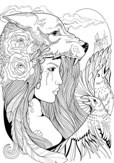 Wolf Woman crow roses feathers. linework. tattoo illustration.