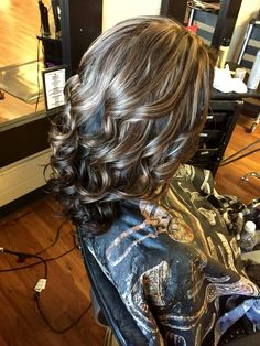 Dark brown with mocha brown and blonde highlights