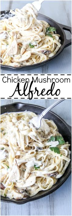 Chicken and Mushroom Fettuccine Alfredo. Easy and so delicious. ValentinasCorner.com