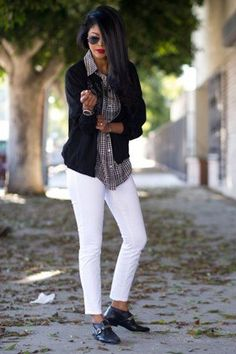 Black and White with a print shirt!  Nothing like it for October!