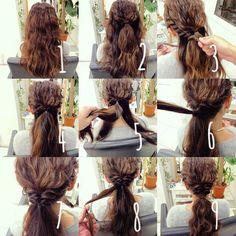 1.ベースを作ります⭐️ 2.トップの部分をくくります⭐️ 3.サイドの毛をロープ編みしてきます⭐️ 4.両方ロープ編みして後ろでくくります⭐️ この時に2でくくったゴムの上に重なるようにしたいので少し上気味でサイドのロープ編みをします🙏 5.下にまだ何も施してない髪の毛があるので、それを二つに分けます⭐️ 6.分けた二つの毛を5で手に持ってる毛束の上で二つを一つにまとめてくくります⭐️ 7.その毛をくるりんぱします⭐️ 8.落ちてる端の毛を少しだけ取って根本にぐるぐる巻きつけるように巻いていって、ピンで止めます⭐️ 9.毛先をまたアイロンで巻いて完成です🙏 少し難しいですよー  お友達同士で練習してみてください😊✨ #ヘアアレンジ#ヘアセット #大阪#心斎橋 #美容院#美容師 #hair#hair#hairstyle#fashion