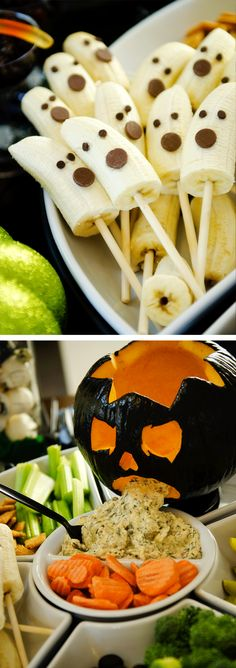 Jelly Bean Pumpkins, Lollipop Ghosts  Cute Drinks via Yum food and - halloween party ideas for kids food