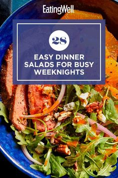 Eat all your greens with these delicious dinner salad recipes. These salads are packed with fresh, nutritious vegetables and protein, so you'll feel satisfied and full. #salads #saladrecipes #healthysalads #saladideas #healthyrecipes Salad Recipes For Dinner, Dinner Salads, Food Baby, Baby Food Recipes, Soup And Salad, Pasta Salad, Bean Salad, Healthy Salads, Protein