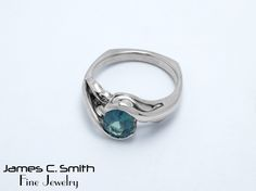 Blue green Sapphire in 14k white gold. #sapphire #gold