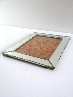 Cadre photo ancien en miroir biseauté  Sous-verre par BrocAndPop