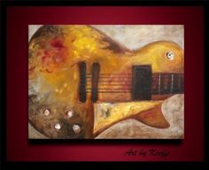 Abstract Guitar Painting by artbykeeefe on Ebay