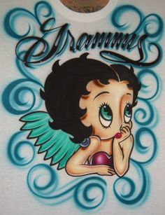 Betty Boop Airbrush T-Shirt Airbrush Shirts, Airbrush Art, Betty Boop Pictures, Minnie Mouse, Anime, Disney Princess, Disney Characters, Handmade Gifts, Drawing Designs